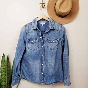 J. Crew Western denim button up shirt